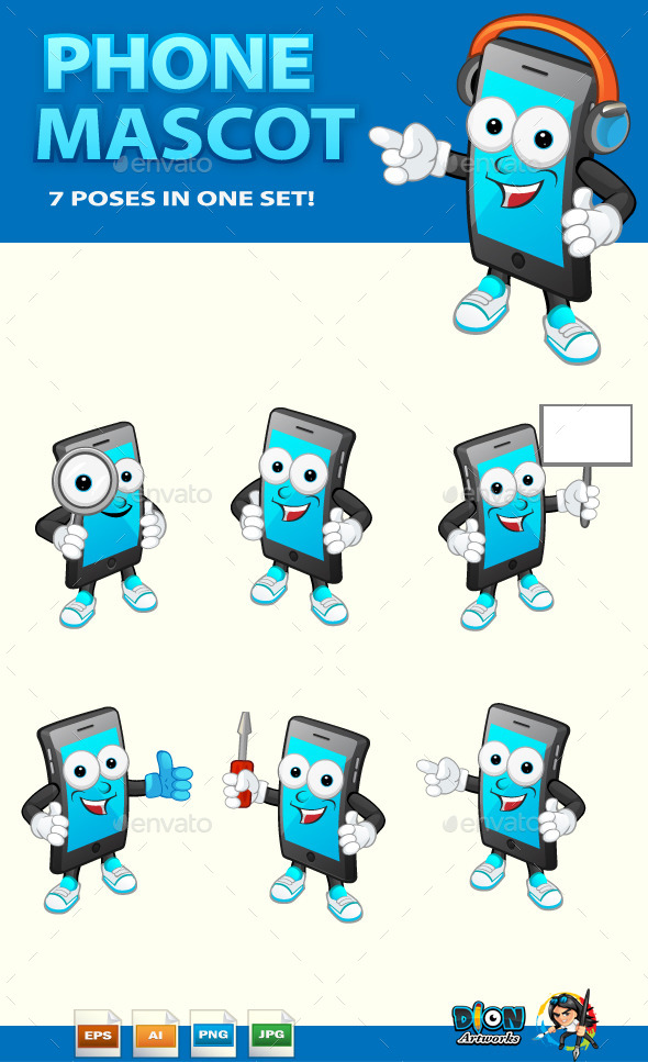 GraphicRiver Phone Mascot 11101768