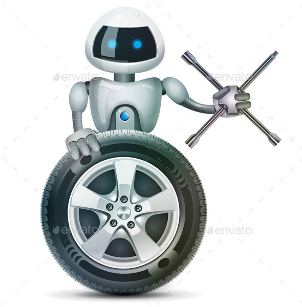 GraphicRiver Robot with a Wheel and a Wheel Brace 11102097