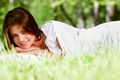 Woman wake up on grass - PhotoDune Item for Sale