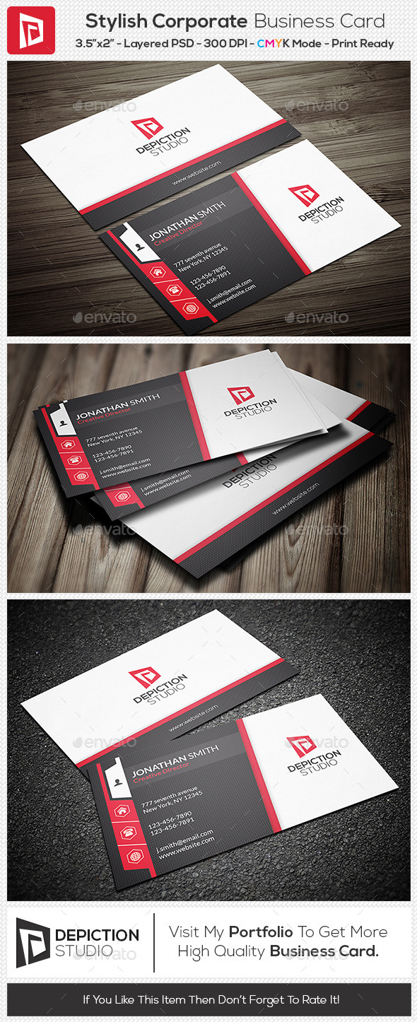 GraphicRiver Stylish Corporate Business Card 11102695