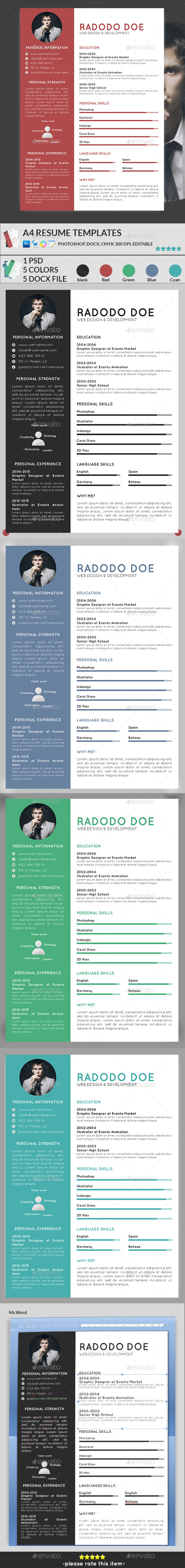 GraphicRiver A4 Resume Templates 11102744