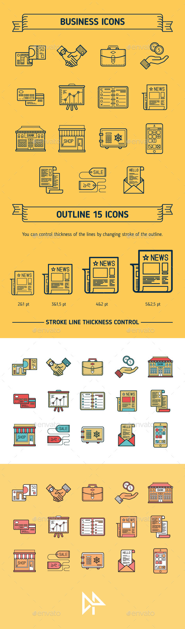 GraphicRiver Business Outline & Colored Icons 11103045