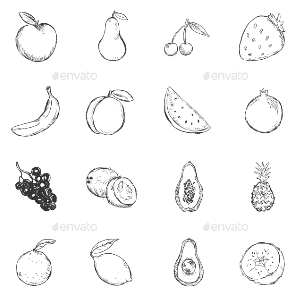 Set of Sketch Fruits Icons