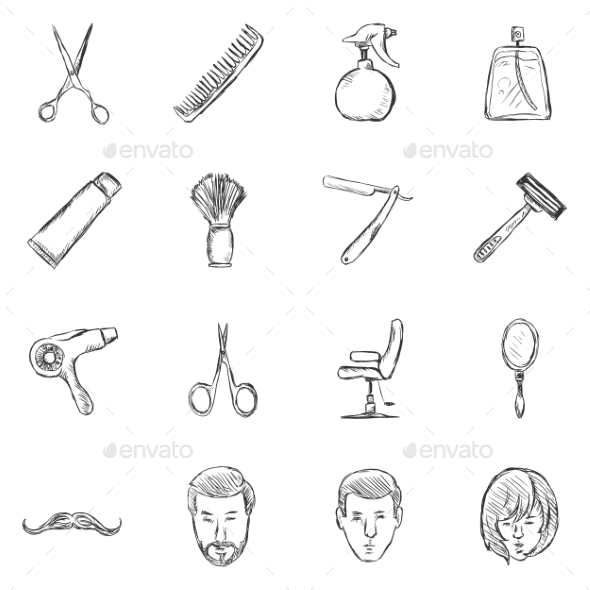 GraphicRiver Set of Sketch Barber Shop Icons 11103196