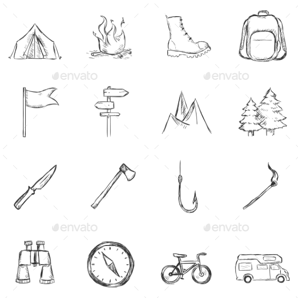 GraphicRiver Set of Sketch Hiking and Camping Icons 11103202