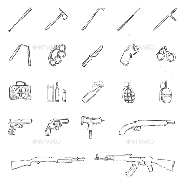 GraphicRiver Set of Sketch Weapon Icons 11103215