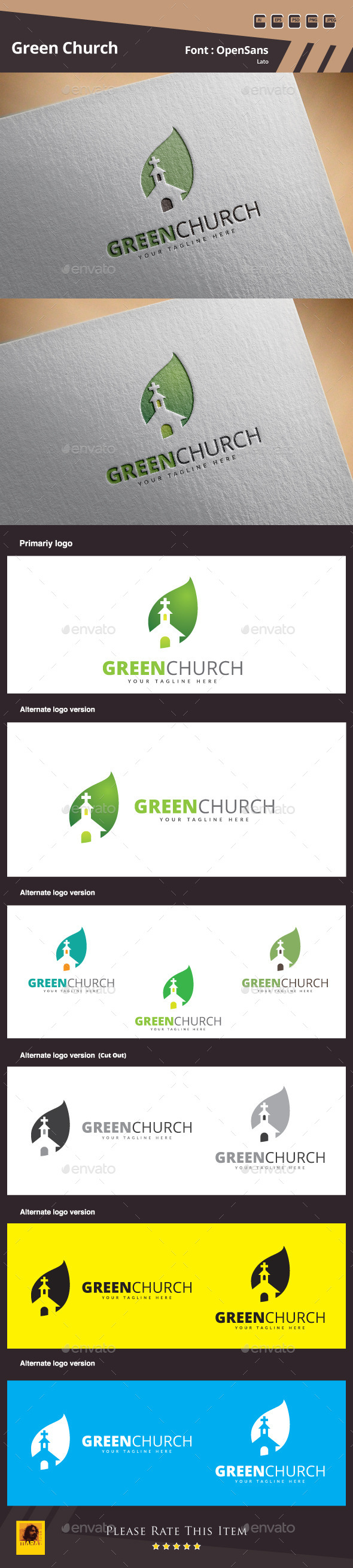 GraphicRiver Green Church Logo Template 11103248