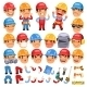 Set of Cartoon Worker Characters - GraphicRiver Item for Sale