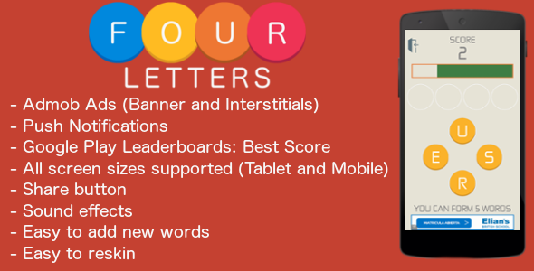 CodeCanyon Four Letters Admob & Leaderboard & Share 11103859