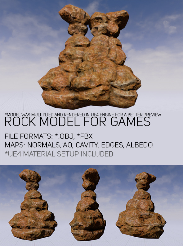 3DOcean Low Poly Rock For Games 11103920