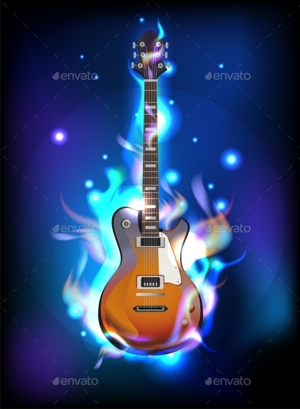 GraphicRiver Burning Guitar 11103923