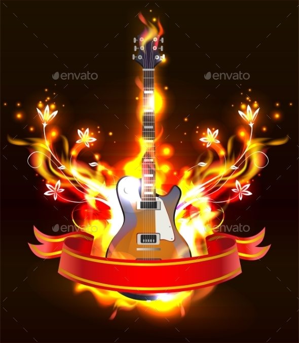 GraphicRiver Burning Guitar 11103924