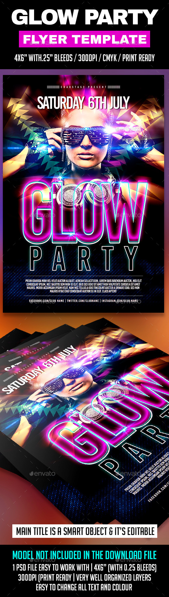GraphicRiver Glow Party Flyer Template 11104560