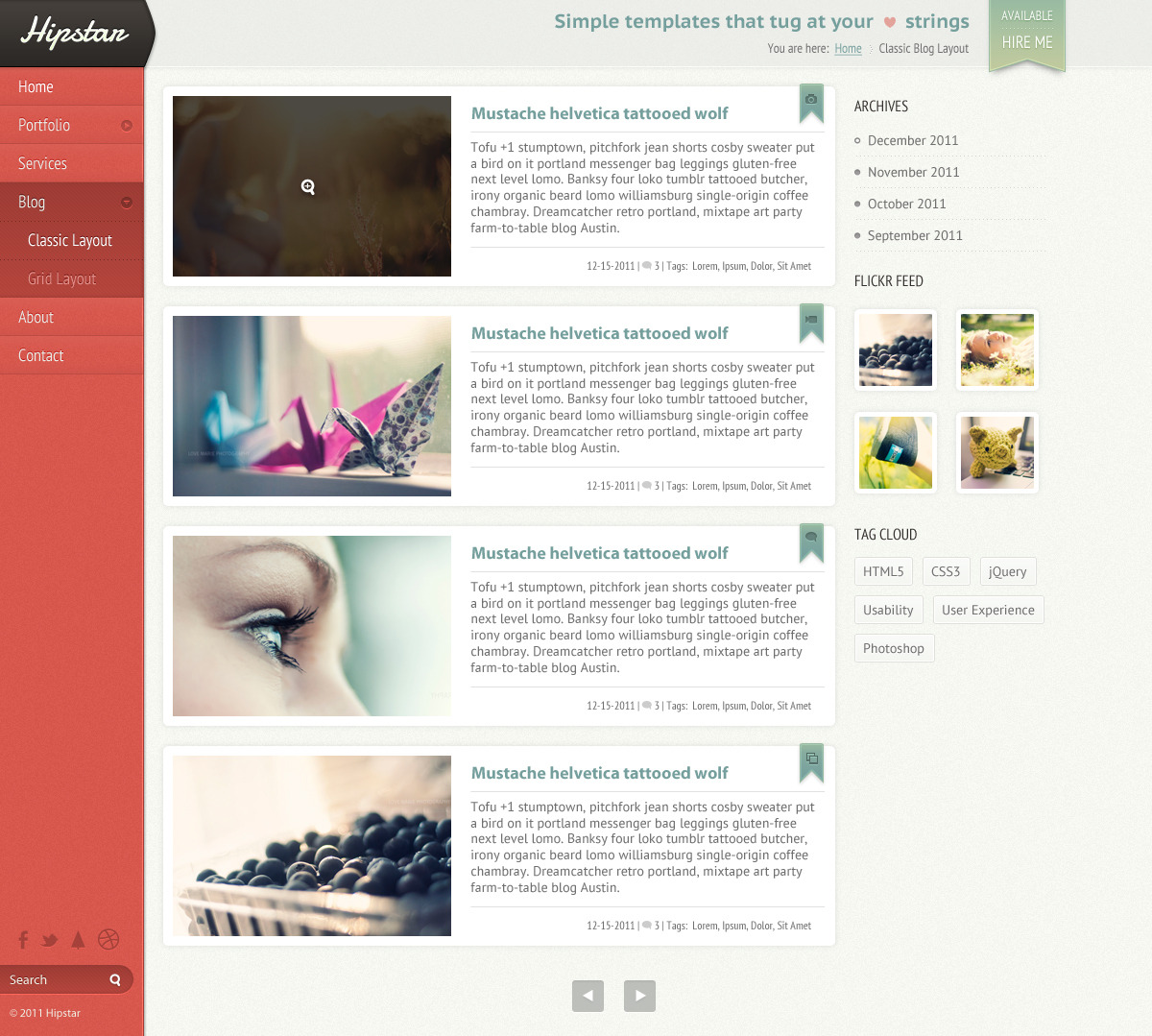 Hipstar - Creative PSD Template - Blog template as a classic list archive.