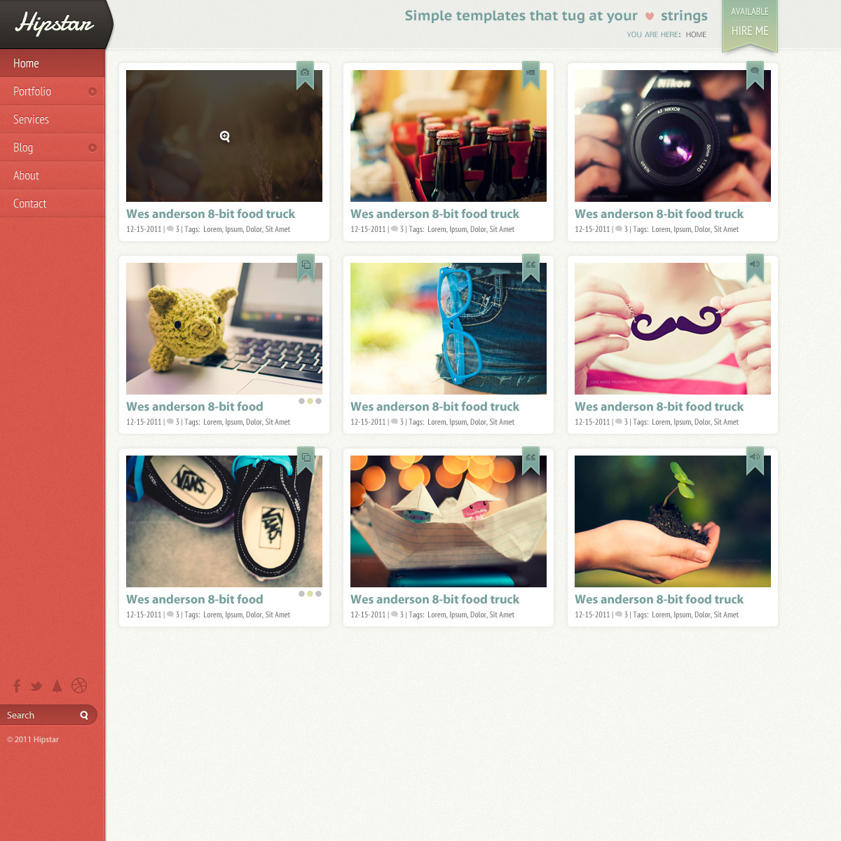 Hipstar - Creative PSD Template - Portfolio template as large grid layout.