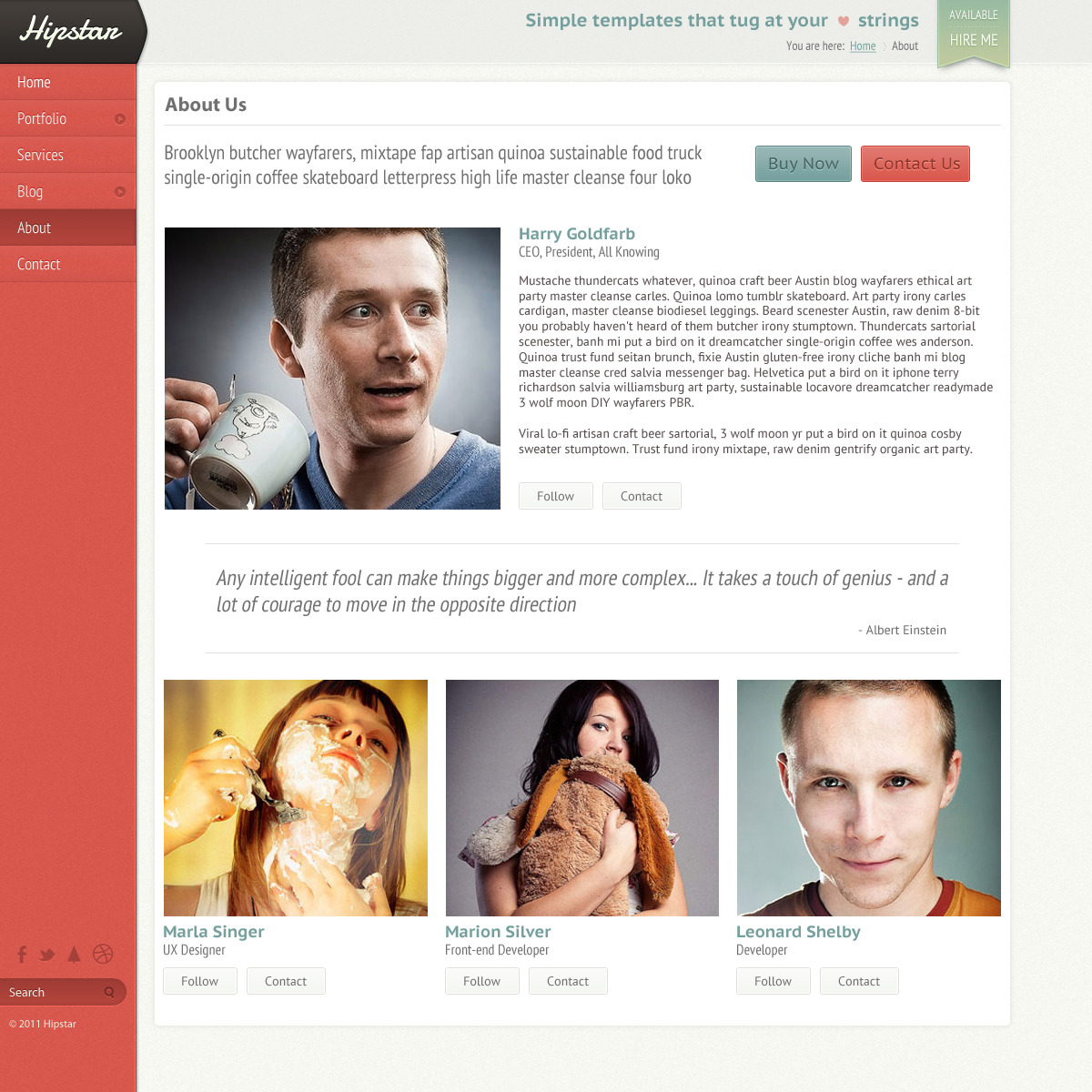 Hipstar - Creative PSD Template - Single page template with out sidebar.