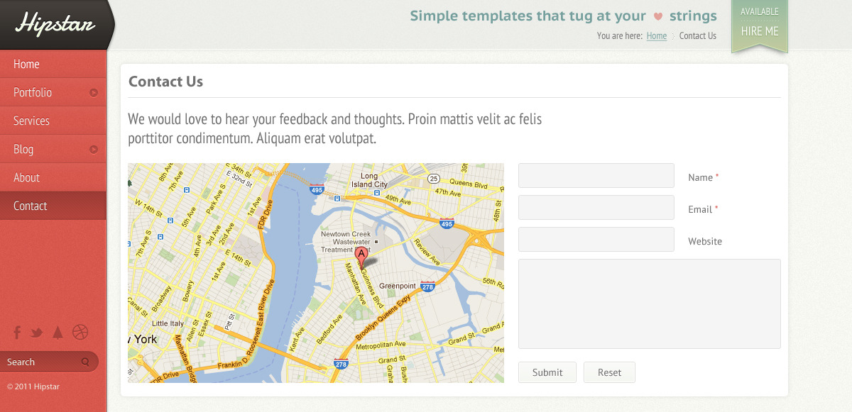 Hipstar - Creative PSD Template - Contact template with map and contact form.