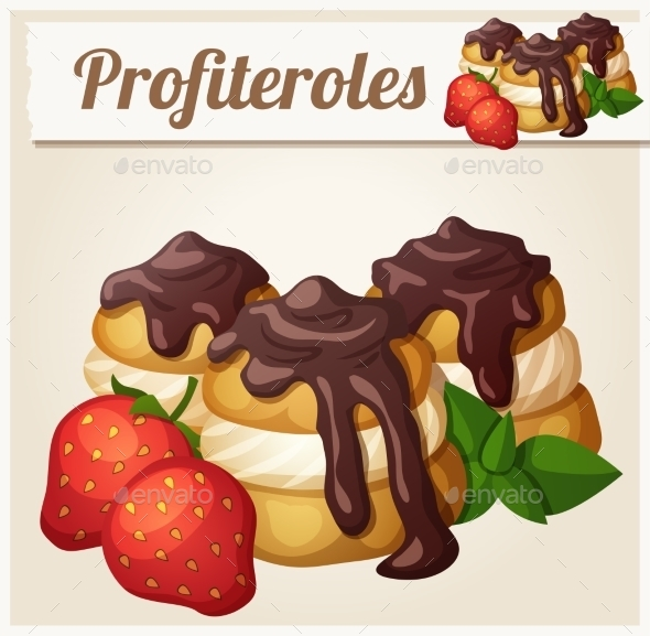GraphicRiver Profiteroles with Chocolate and Strawberry 11104753