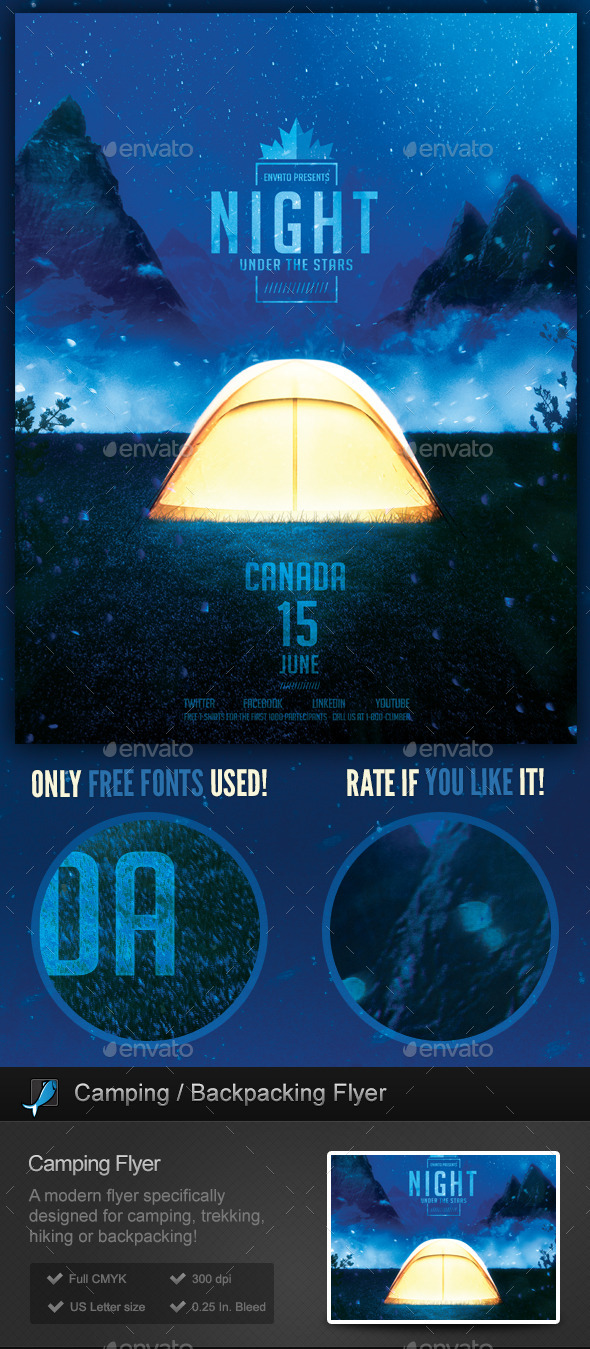 GraphicRiver Camping Nights Backpacking Flyer Template 11104906