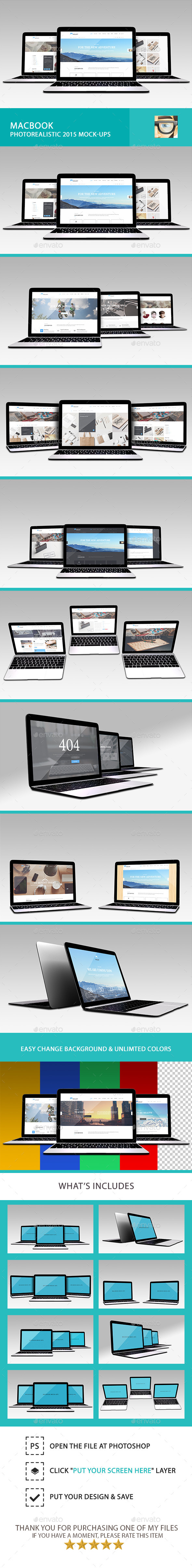GraphicRiver MacBook Photorealistic 2015 Mock-Ups 11105190