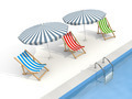 Parasols and sun loungers are near the pool - PhotoDune Item for Sale