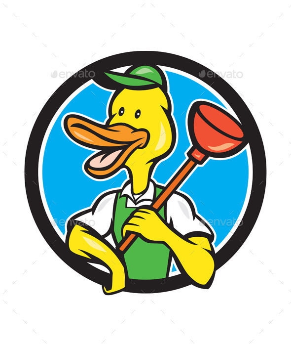 GraphicRiver Duck Plumber Holding Plunger Circle Cartoon 11106203