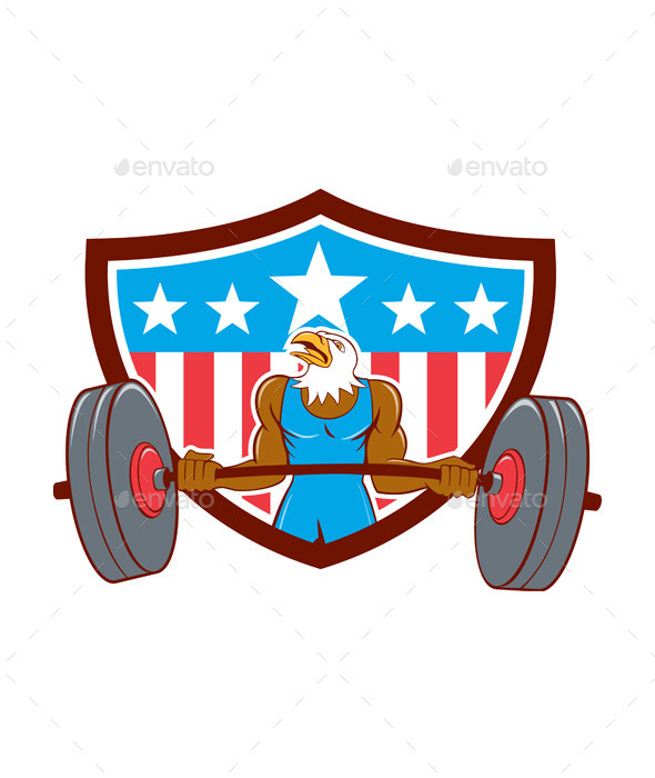 GraphicRiver Bald Eagle Weightlifter Barbell USA Flag 11106392