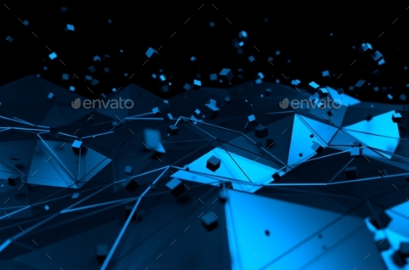 GraphicRiver Abstract 3D Rendering of Blue Surface with Chaotic 11106532