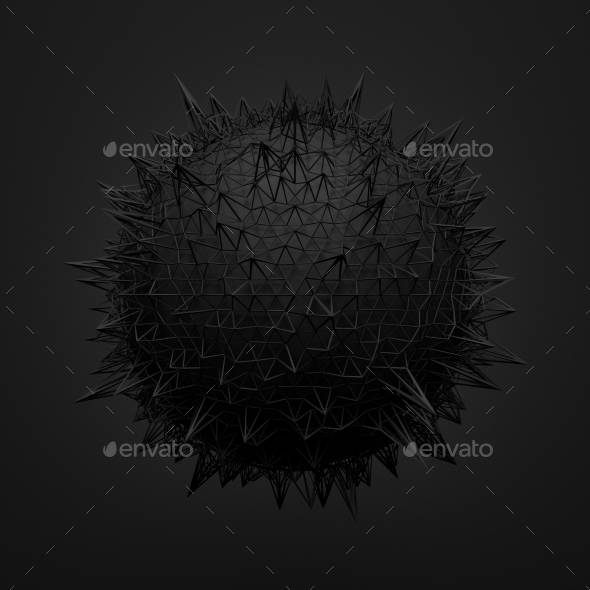 GraphicRiver Abstract 3D Rendering of Black Sphere with Chaotic 11106963