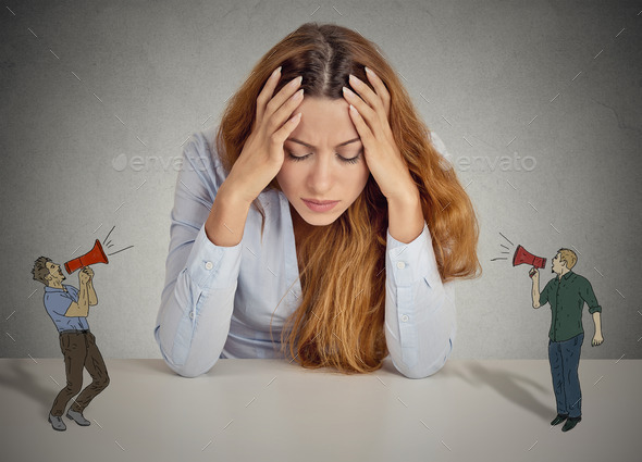 Desperate unhappy young business woman