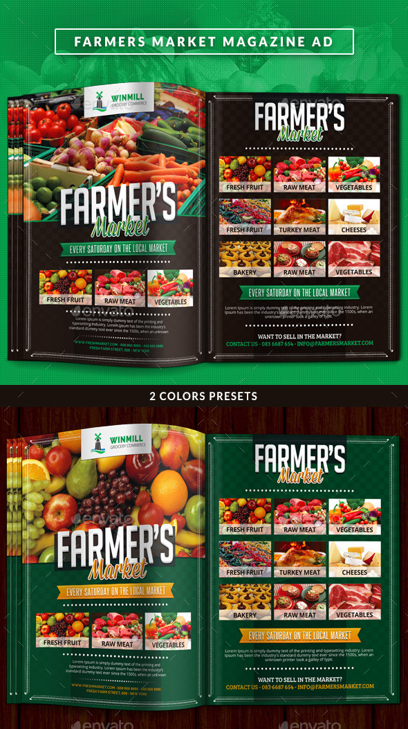 GraphicRiver Farmer s Market Commerce Magazine Ad 11108114