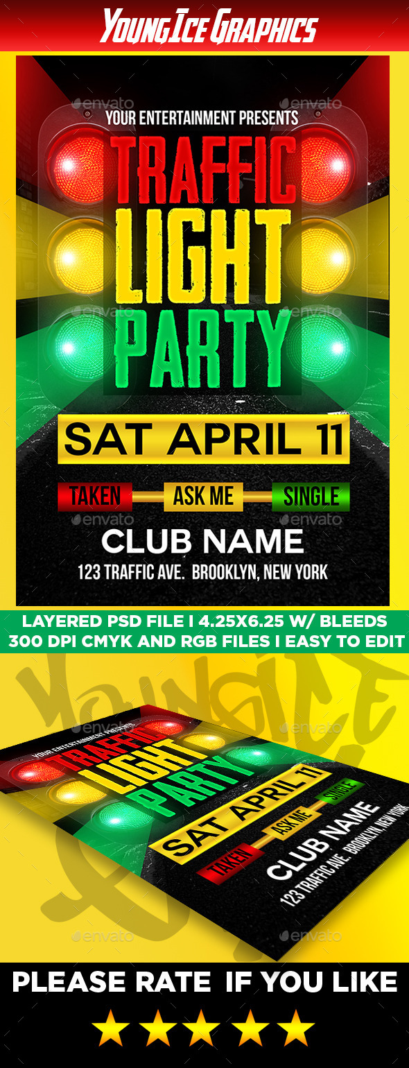 GraphicRiver Traffic Light Party Flyer Template 11108125