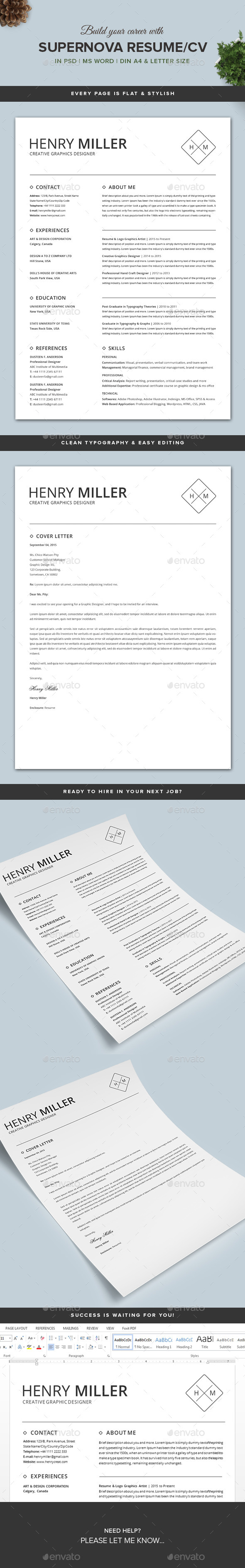 GraphicRiver Supernova Resume CV Set 11108340
