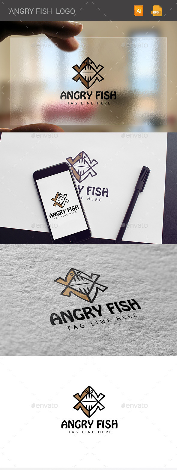 GraphicRiver Angry Fish Logo 11108455