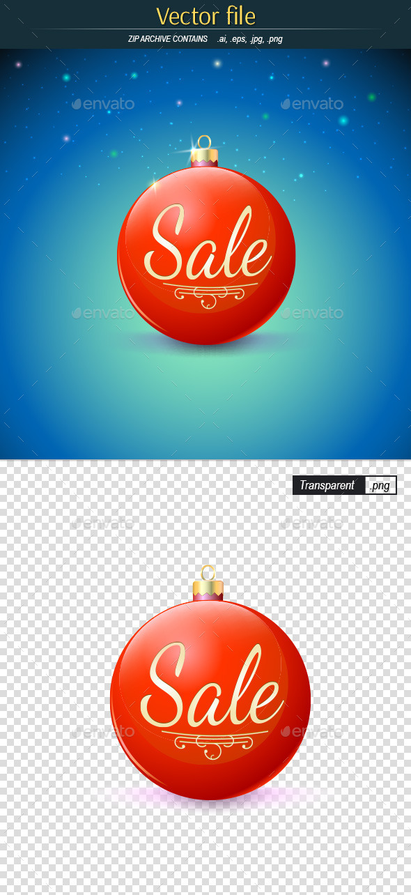 GraphicRiver Christmas Red Ball with Advertising Sales 11108615