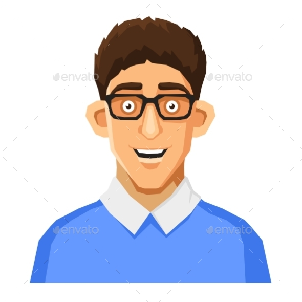 GraphicRiver Cartoon Style Portrait of Nerd with Glasses 11109449
