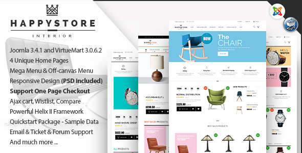 ThemeForest HappyStore Furniture & Interior Joomla Template 11109745