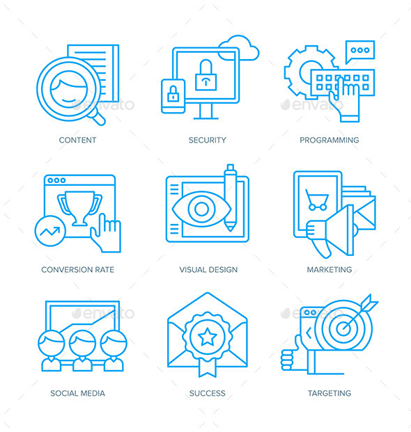 GraphicRiver SEO and Digital Marketing Icons 11110205
