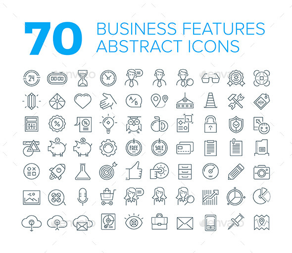 GraphicRiver 70 Thin Line Universal Business Icons 11110250