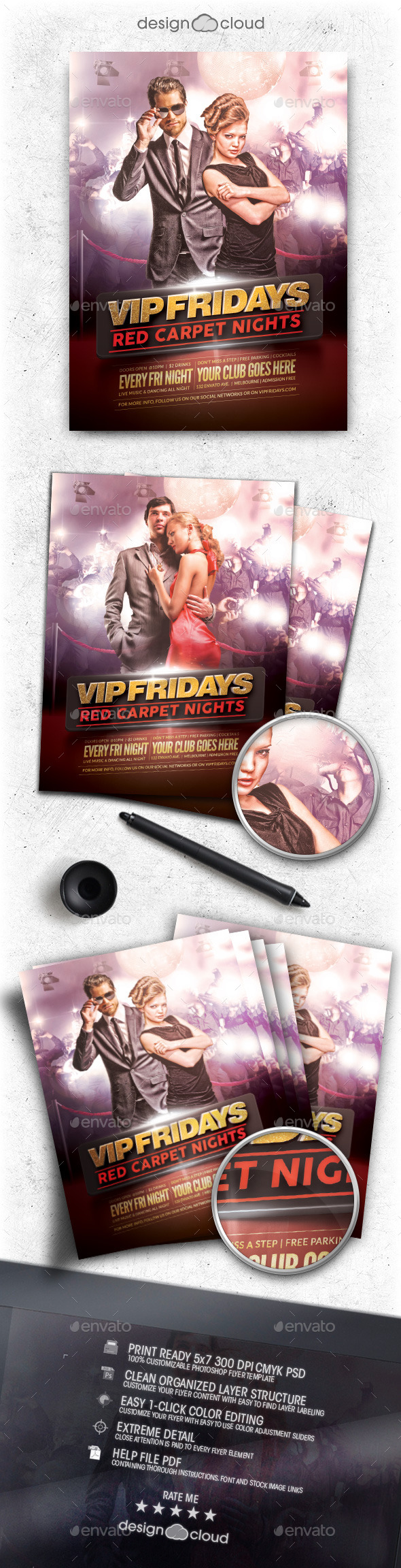 GraphicRiver VIP Fridays Red Carpet Nights Flyer Template 11110505
