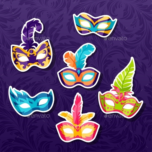 GraphicRiver Set of Celebration Festival Carnival Masks 11110510