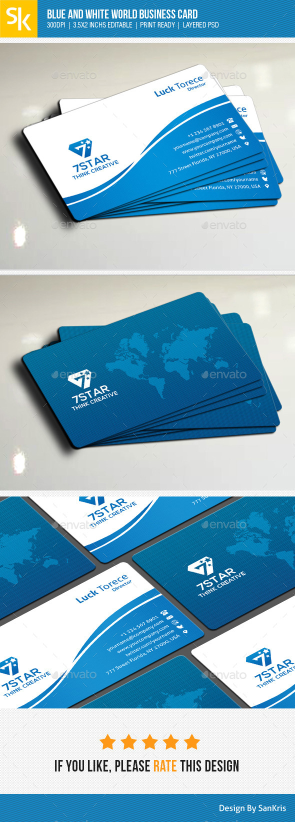 GraphicRiver Blue And White World Business Card 11110814