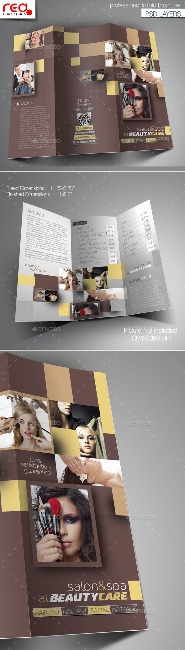 GraphicRiver Hair & Beauty Salon Tri-Fold Brochure Template 11110830