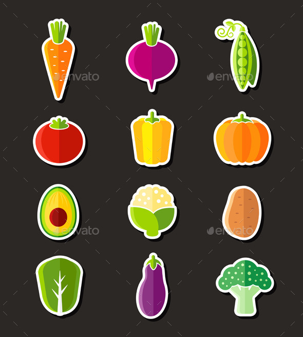 GraphicRiver Fresh Healthy Vegetables Flat Style Organic Icons 11110874