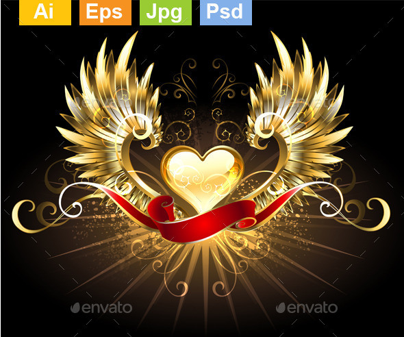 GraphicRiver Golden Heart with Golden Wings 11111387
