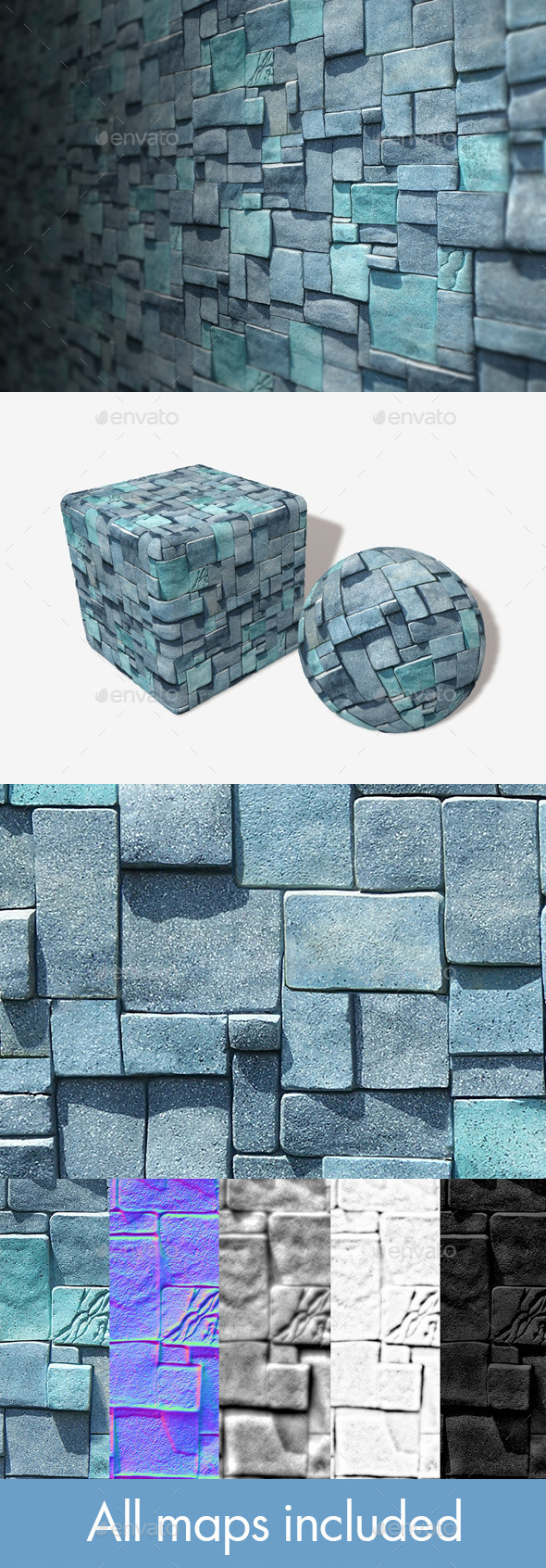 3DOcean Blue Cube Bricks Seamless Texture 11111513