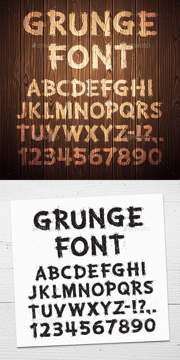 GraphicRiver Grunge Letters and Numbers on Wooden Background 11111557