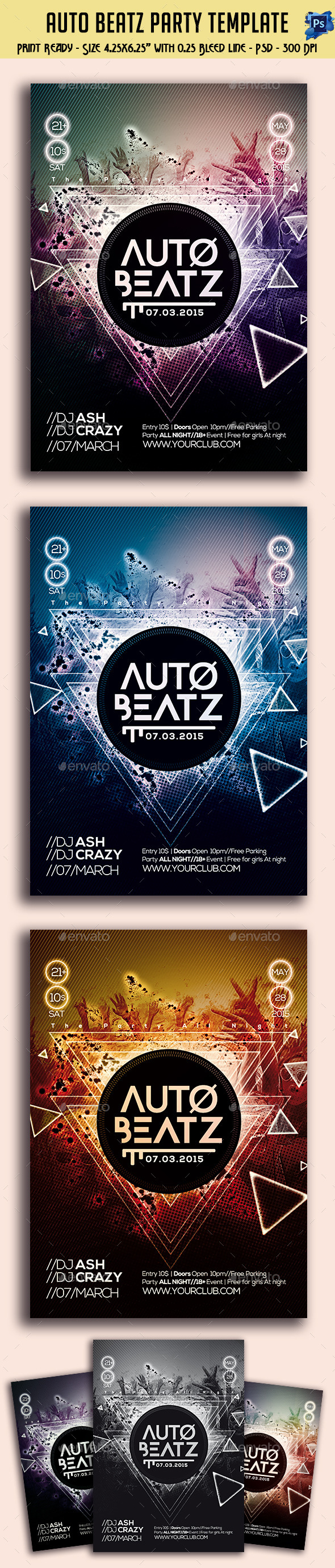 GraphicRiver Auto Beatz Party Template 11113542