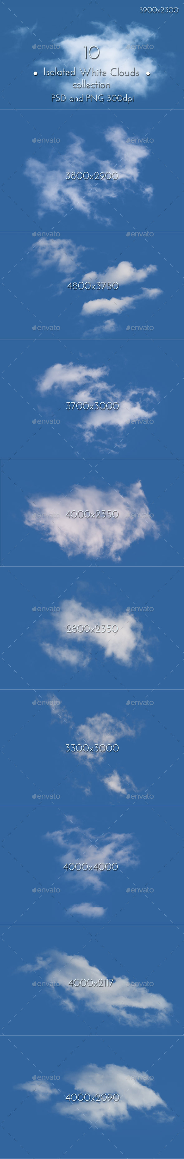 GraphicRiver White Clouds Isolated 11113693