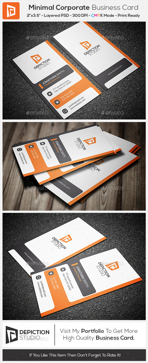 GraphicRiver Minimal Corporate Business Card 11114465